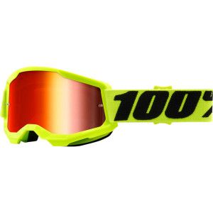 100% Kinder Crossbril Strata 2 Youth Fluo Yellow/Mirror Red